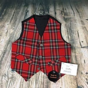 🆕 Infant Boys Christmas Plaid Vest Size 12 M